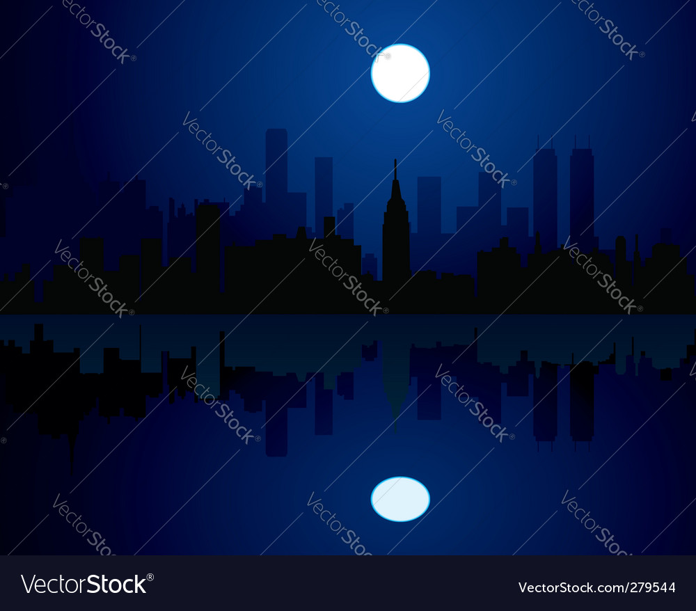 City at night vector | Price: 1 Credit (USD $1)