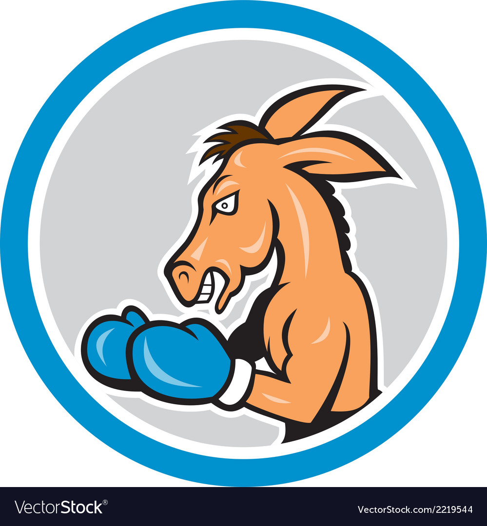 Donkey boxing side view circle cartoon vector | Price: 1 Credit (USD $1)