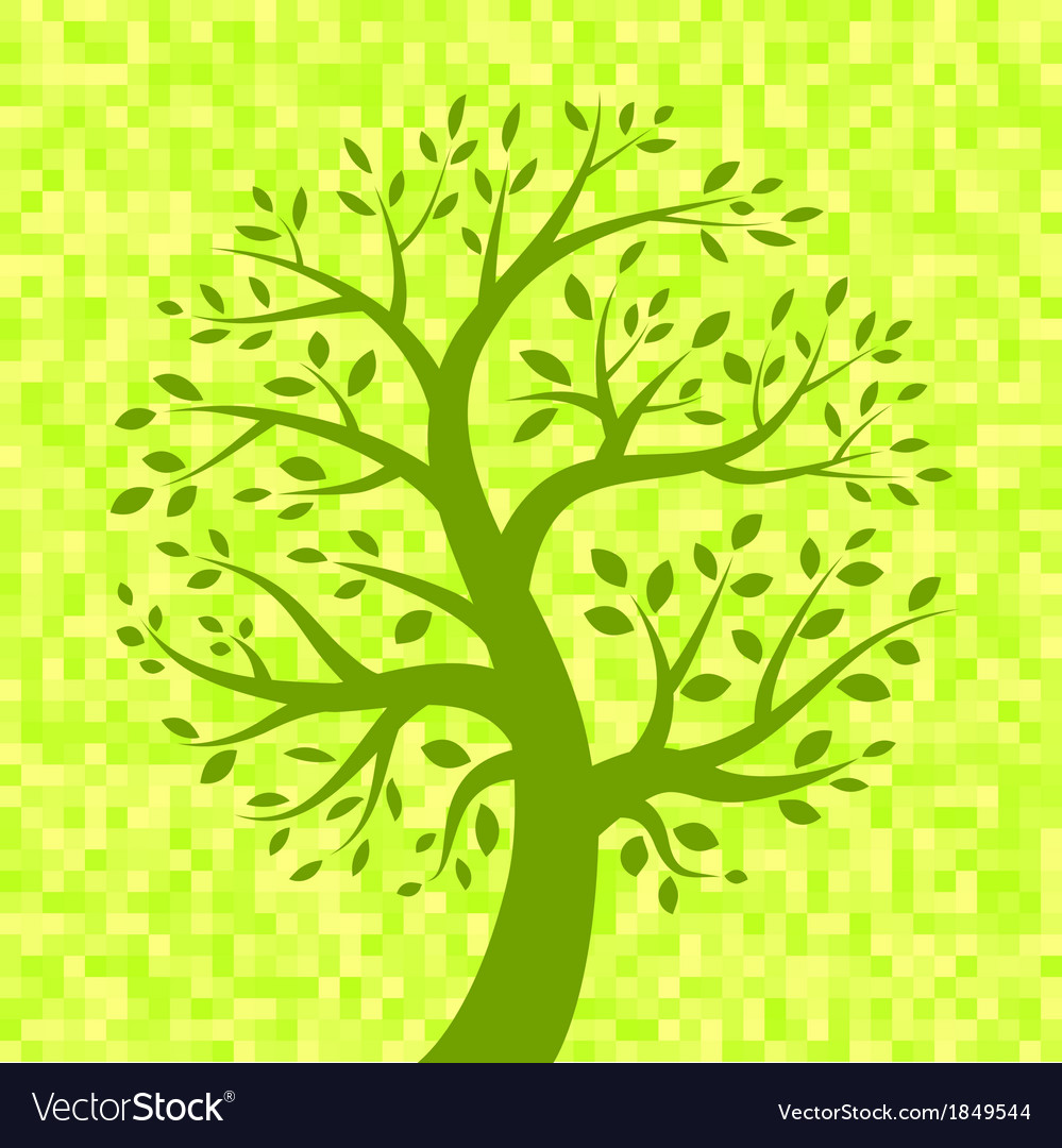 Green tree icon on light pixel background vector | Price: 1 Credit (USD $1)