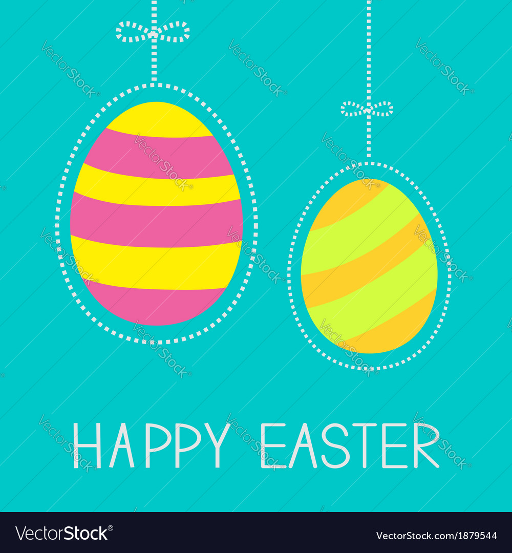 Hanging easter eggs with dash line and bow vector | Price: 1 Credit (USD $1)