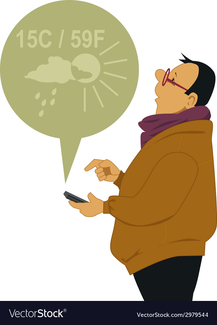 Man checking the weather on his smart-phone vector | Price: 1 Credit (USD $1)