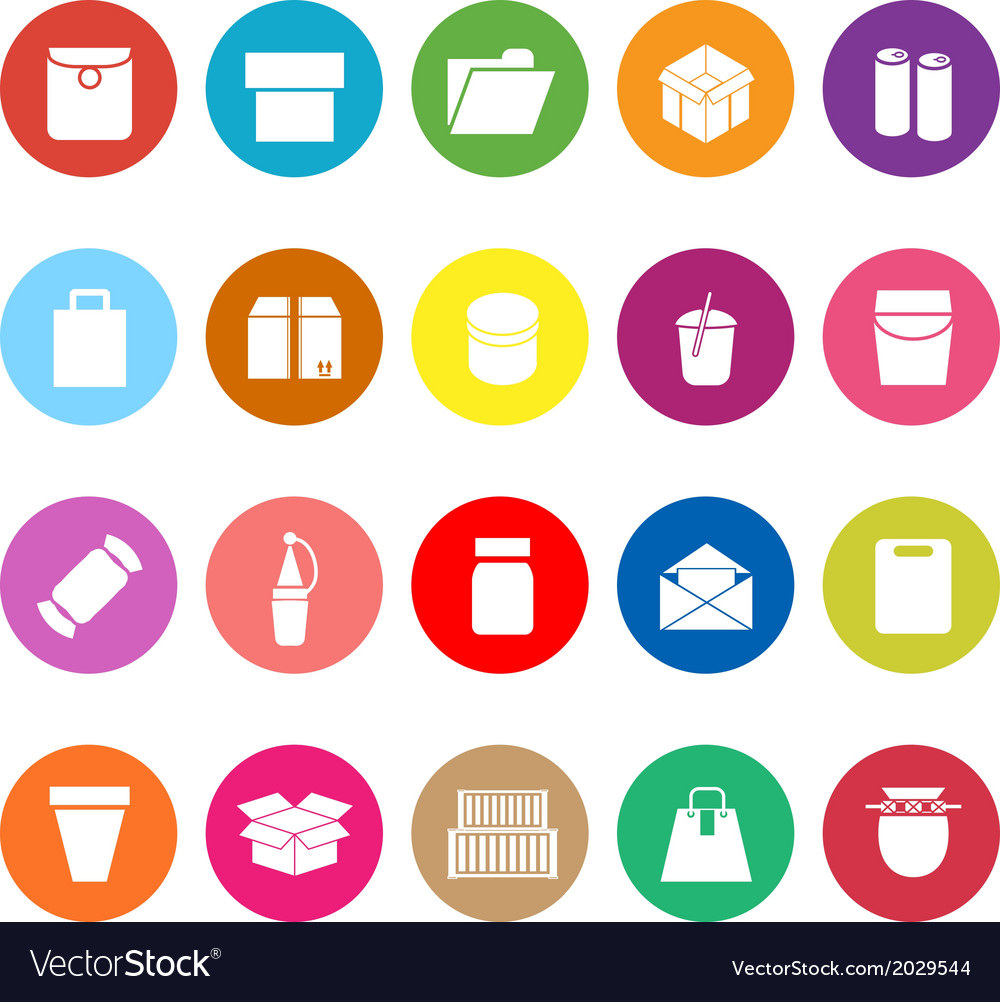 Package flat icons on white background vector | Price: 1 Credit (USD $1)