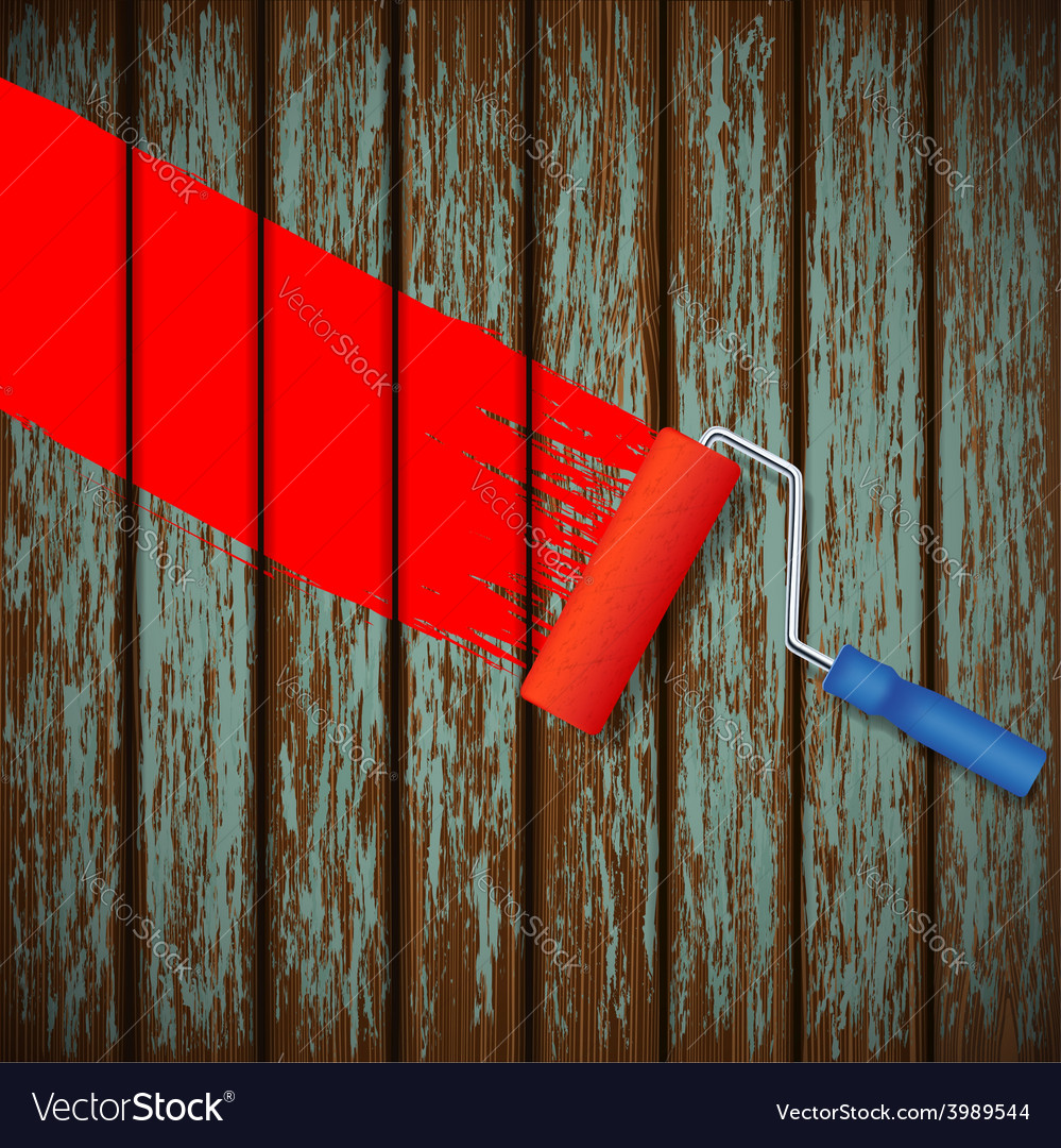 Paint roller and an old wooden fence vector   Price: 1 Credit (USD $1)