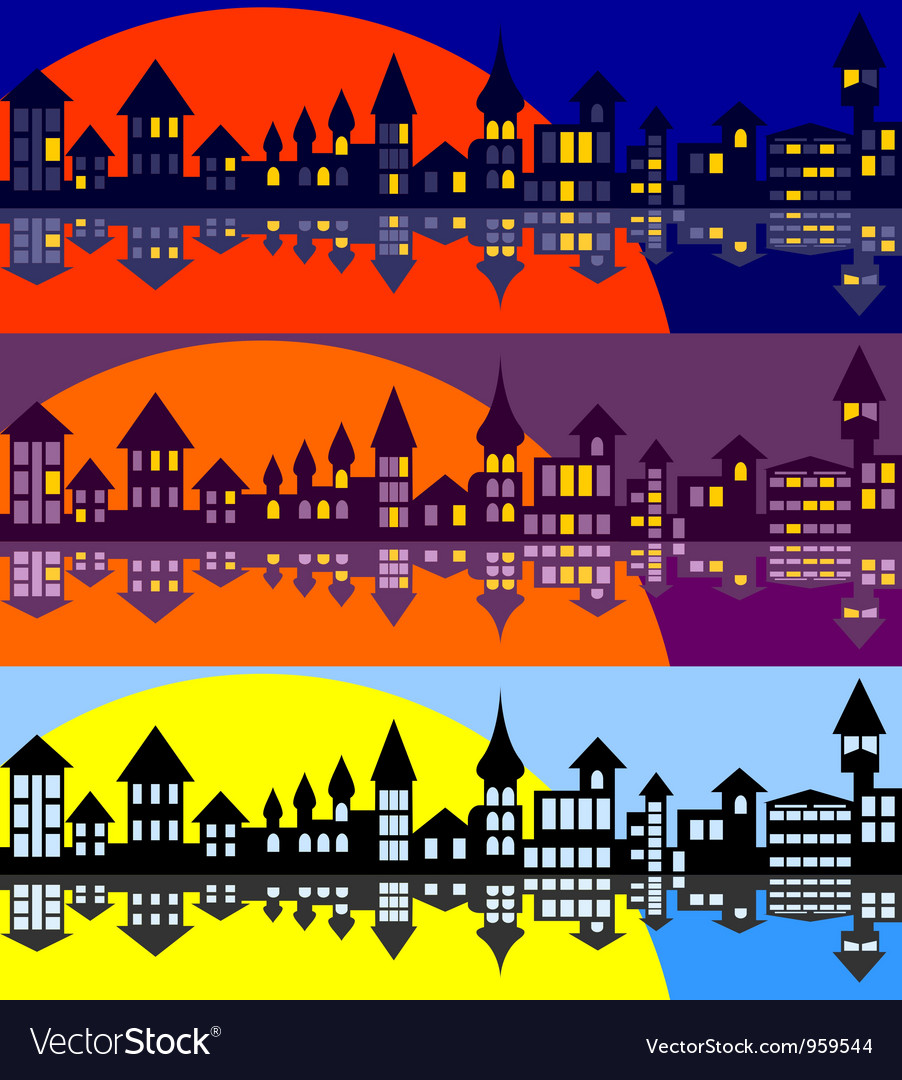 Panorama of the old city set vector | Price: 1 Credit (USD $1)