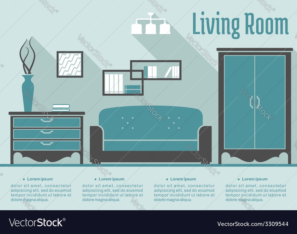 Retro flat living room interior vector | Price: 1 Credit (USD $1)