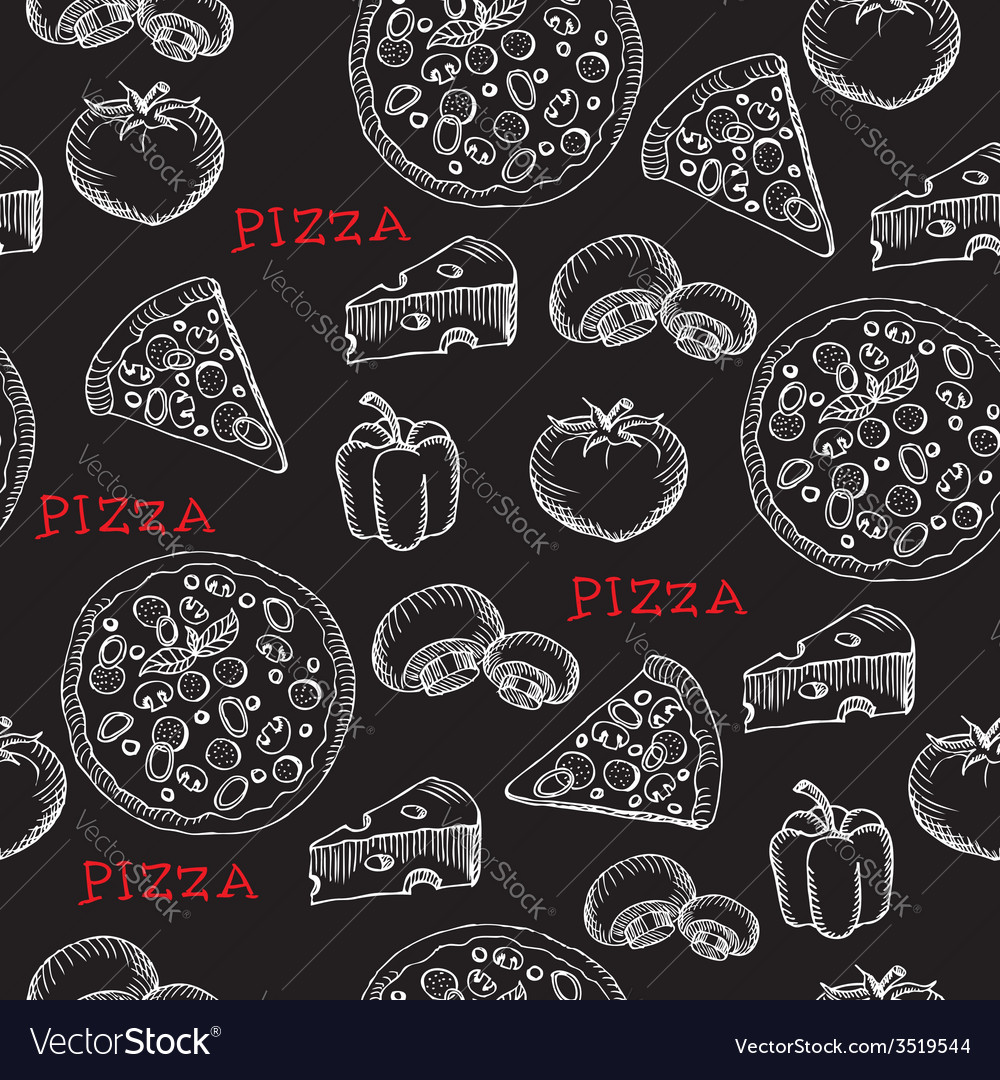 Seamless pizza pattern retro design vector | Price: 1 Credit (USD $1)