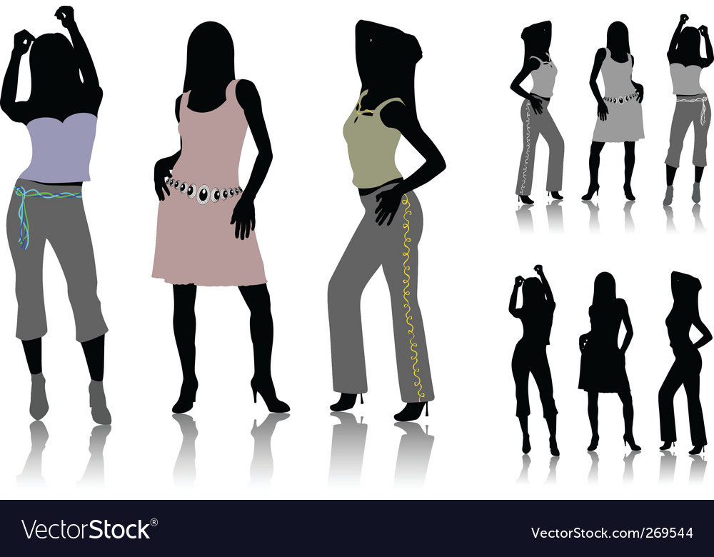 Silhouettes of dancing girls vector | Price: 1 Credit (USD $1)