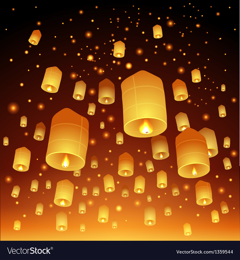 Thailand loy krathong and yi peng festival vector | Price: 1 Credit (USD $1)