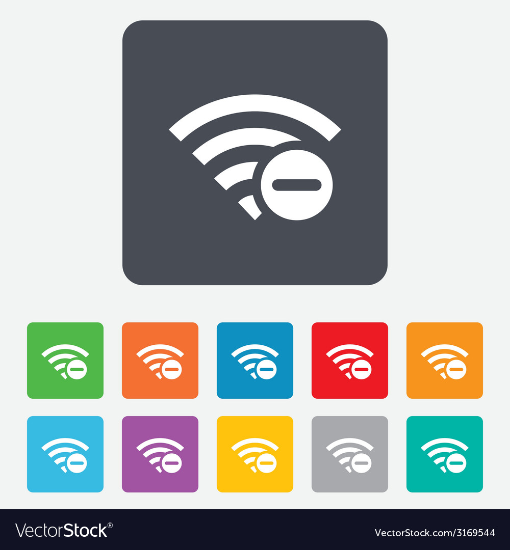 Wifi minus sign wi-fi symbol wireless vector | Price: 1 Credit (USD $1)