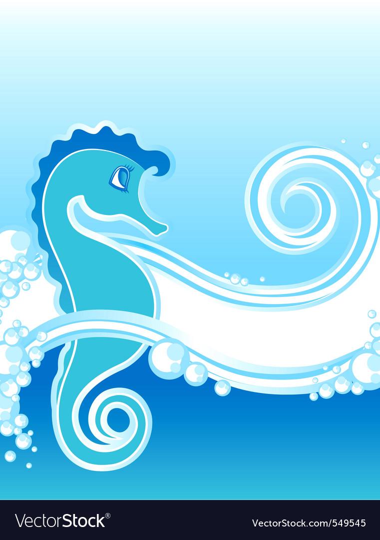 Blue seahorse vector | Price: 1 Credit (USD $1)
