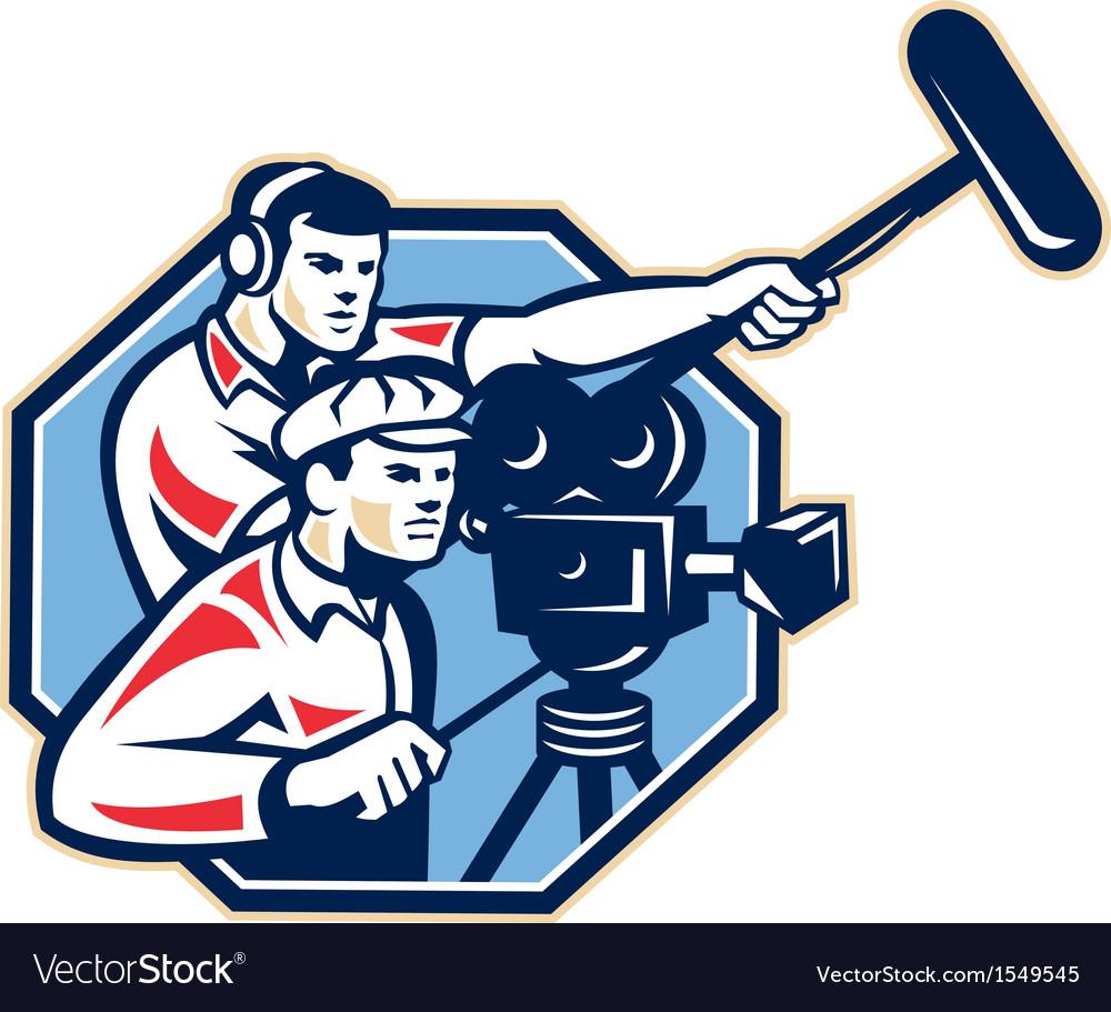 Cameraman vintage camera soundman boom retro vector | Price: 1 Credit (USD $1)
