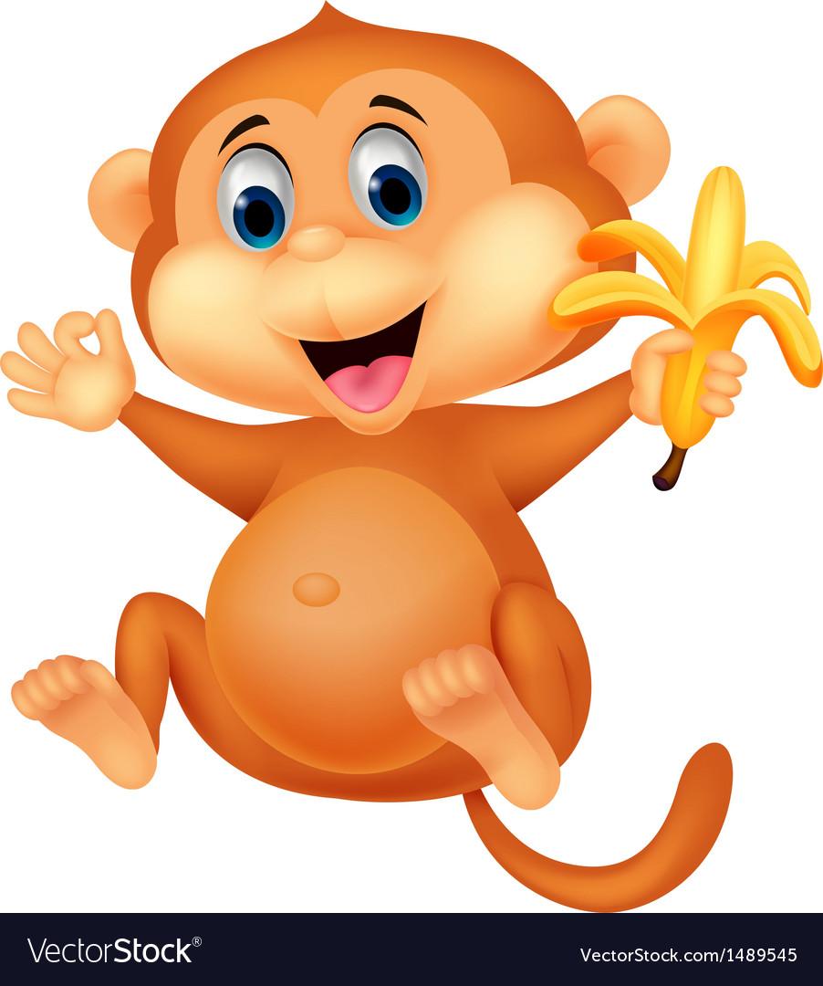 Cute monkey cartoon eating banana vector   Price: 1 Credit (USD $1)
