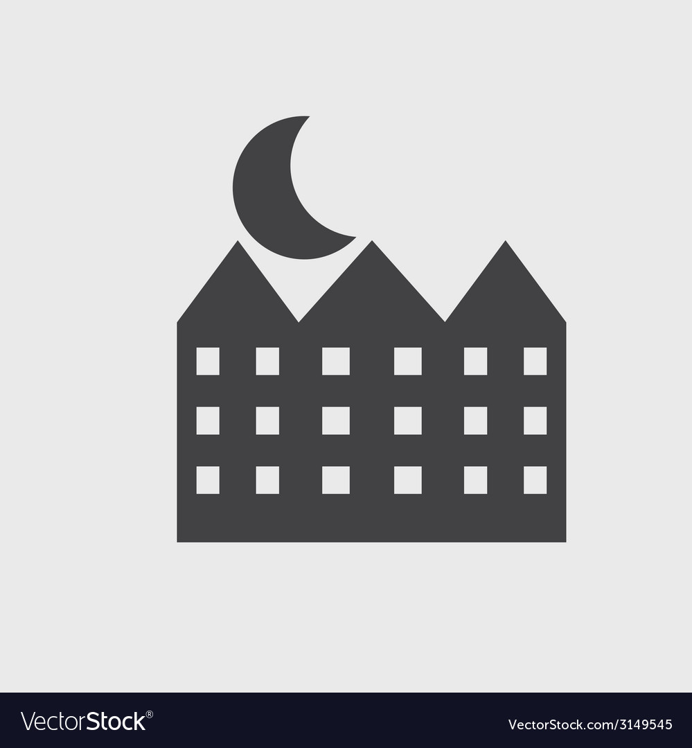 House and moon icon vector | Price: 1 Credit (USD $1)
