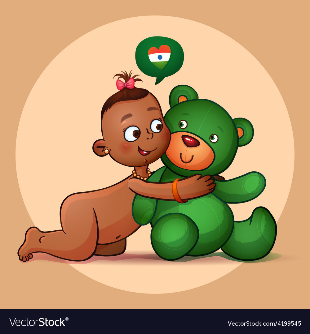 Little indian girl hugging teddy bear green vector | Price: 3 Credit (USD $3)