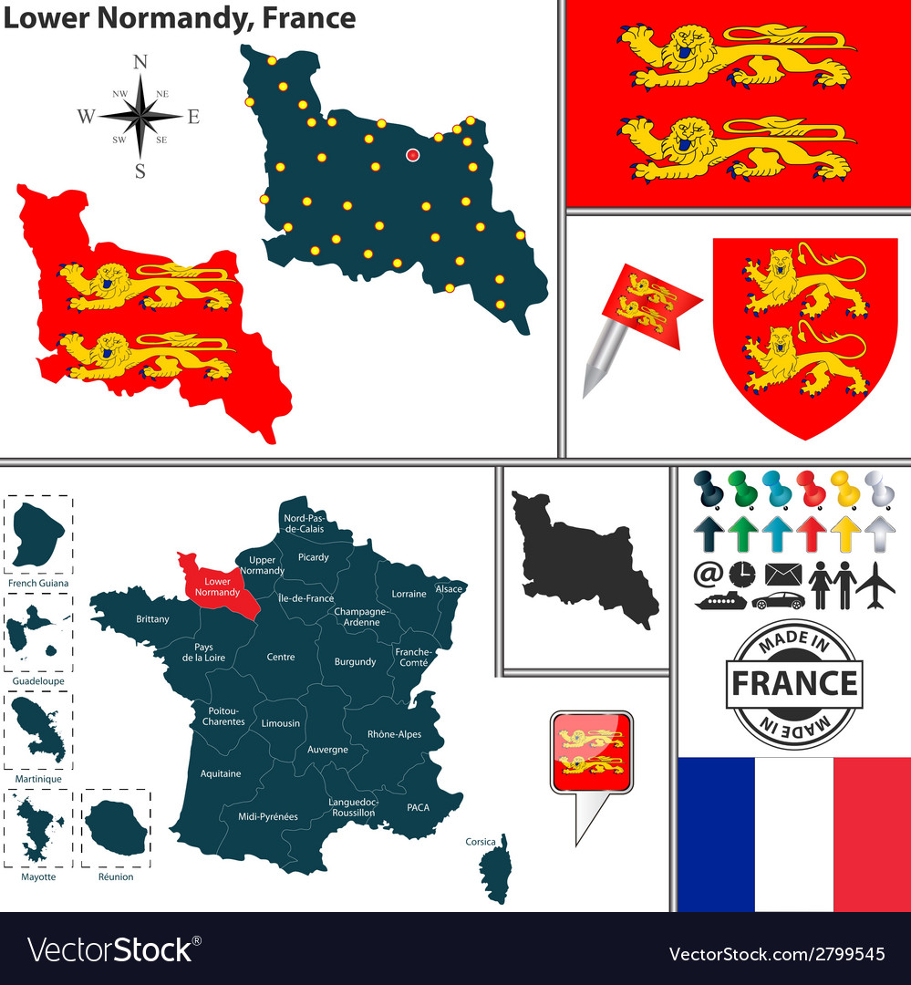Map of lower normandy vector | Price: 1 Credit (USD $1)