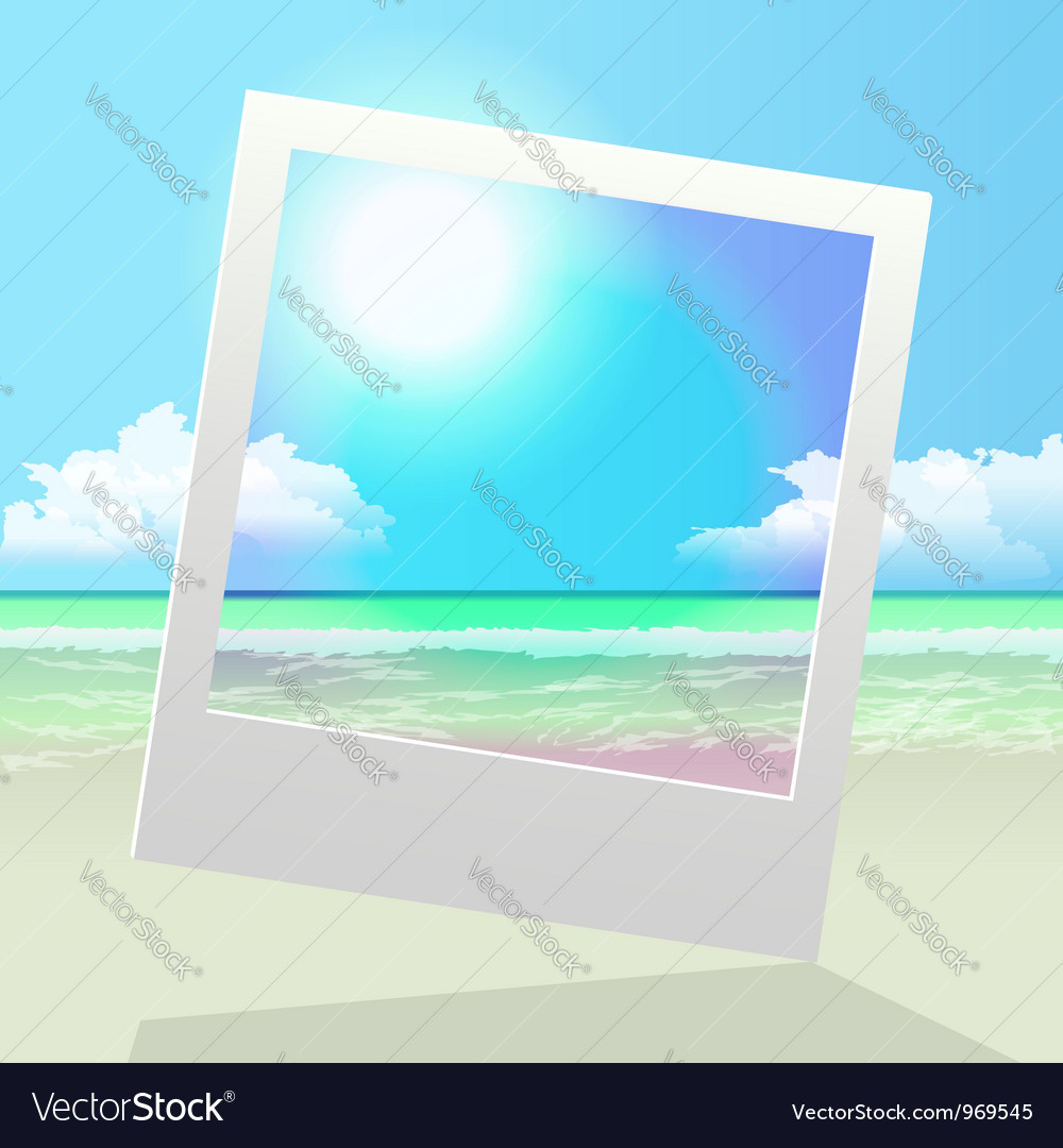 Seashore polaroid frame pic vector | Price:  Credit (USD $)