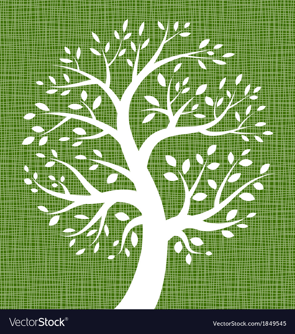 White tree icon on dark green canvas texture vector | Price: 1 Credit (USD $1)
