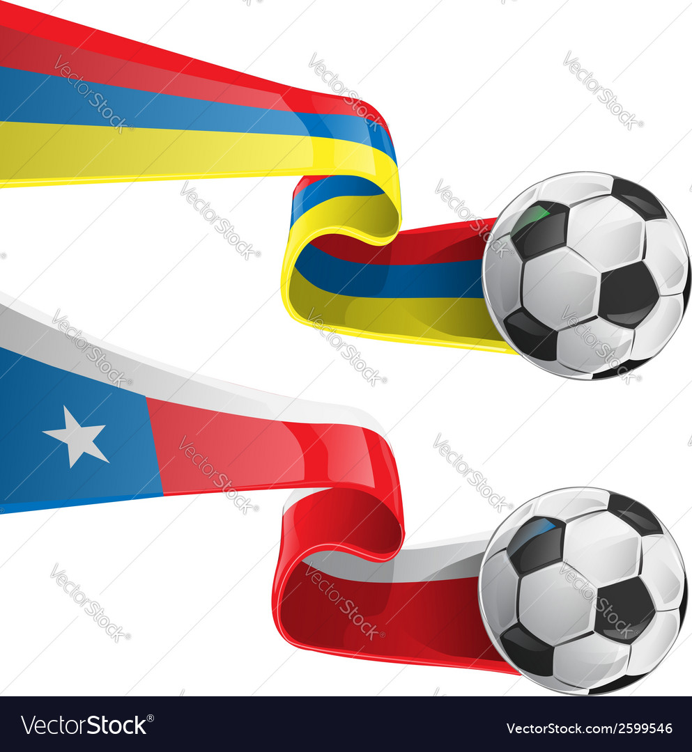 Chile colombia flag with soccer ball vector | Price: 1 Credit (USD $1)