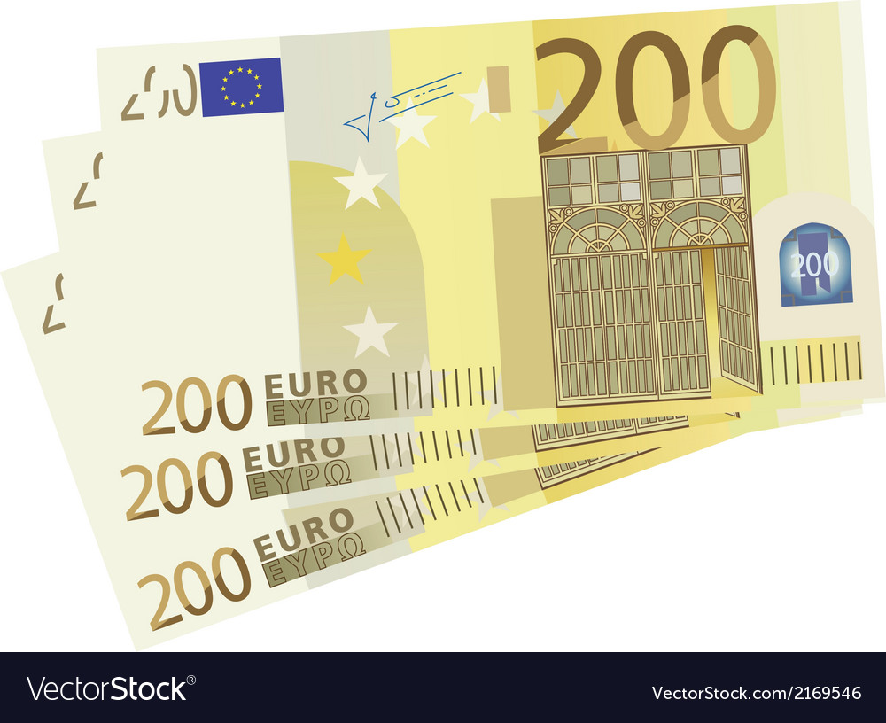 Drawing of a 3x 200 euro bills vector | Price: 1 Credit (USD $1)