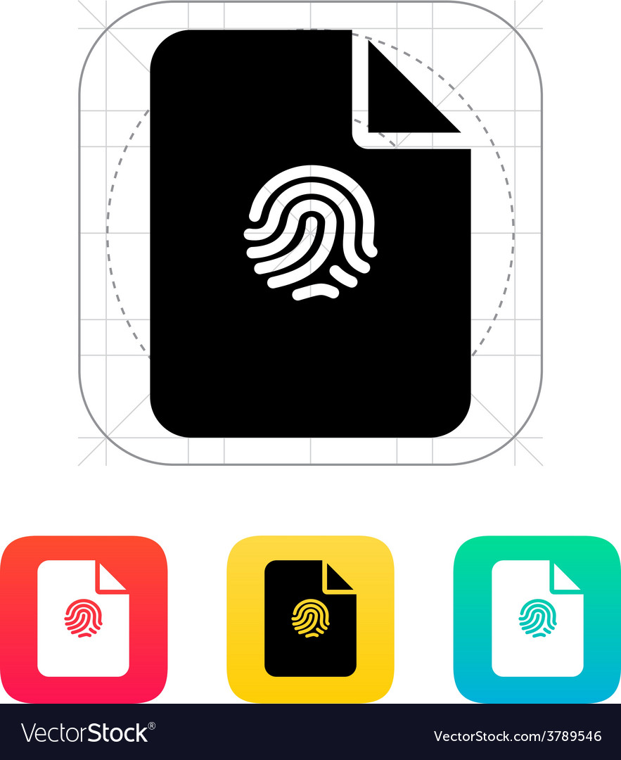 File with fingerprint icon vector | Price: 1 Credit (USD $1)