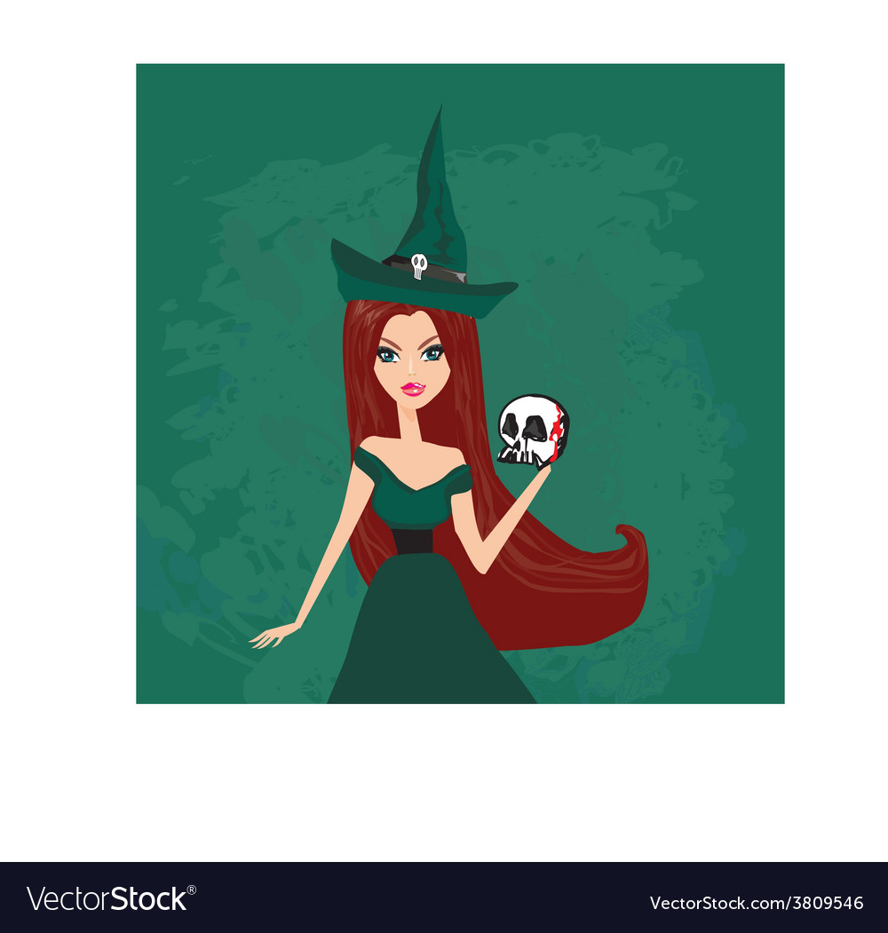 Halloween witch standing with skull vector | Price: 1 Credit (USD $1)