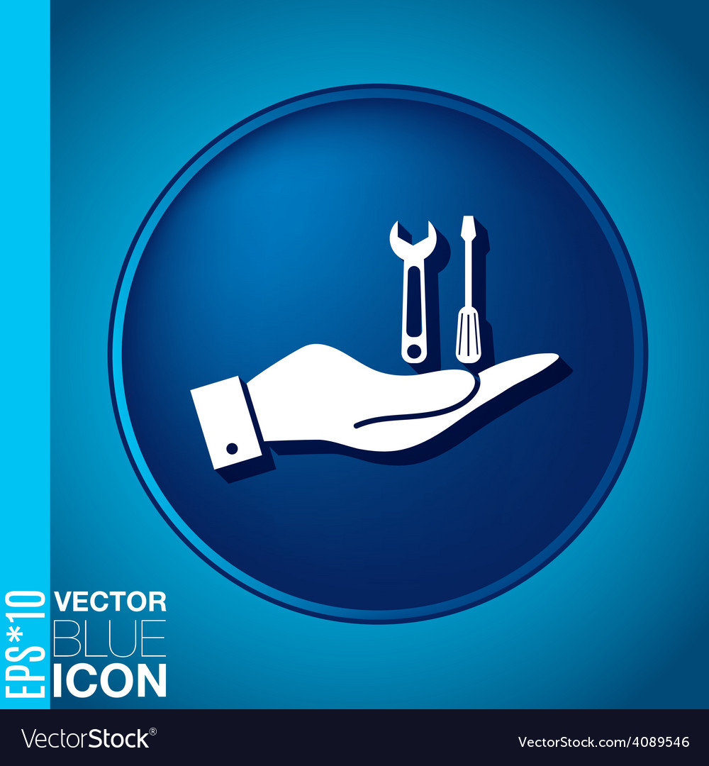 Hand holding a symbol settings sign screwdriver vector | Price: 1 Credit (USD $1)