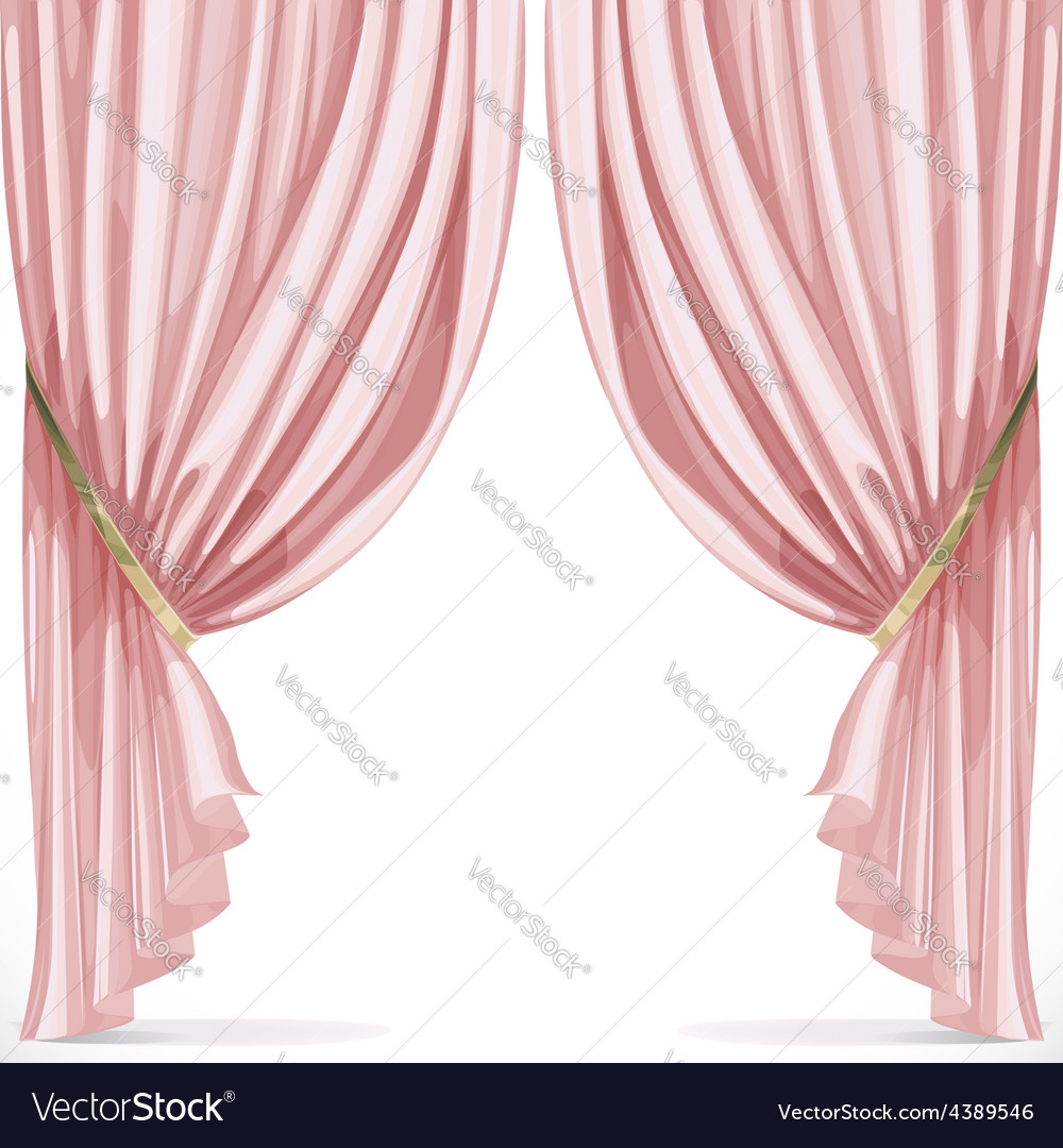 Pink curtain collected in folds ribbon isolated on vector | Price: 3 Credit (USD $3)
