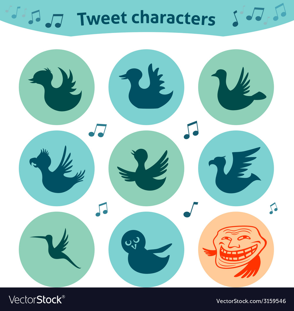 Round internet icons of tweet birds social media vector | Price: 1 Credit (USD $1)