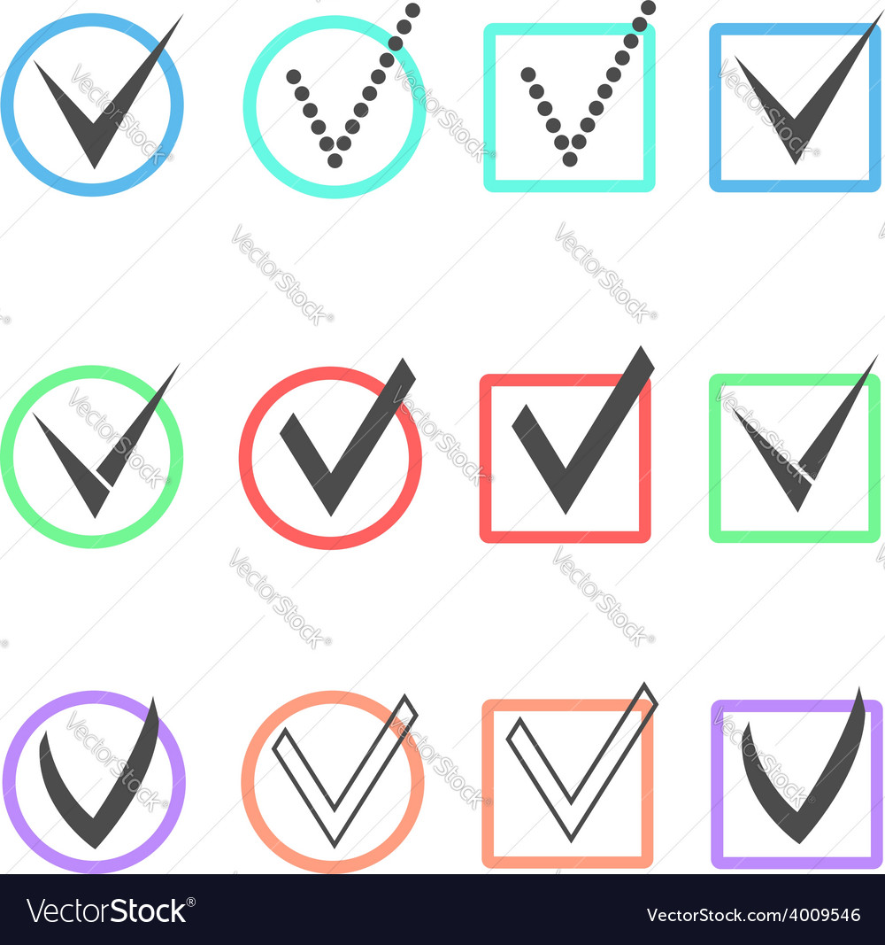 Set of different ticks in colored boxes and vector | Price: 1 Credit (USD $1)
