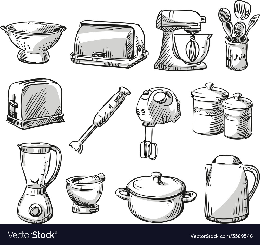 Set of kitchen appliance vector | Price: 1 Credit (USD $1)