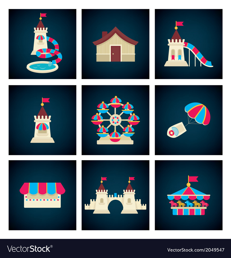 Amusement park icons vector | Price: 1 Credit (USD $1)