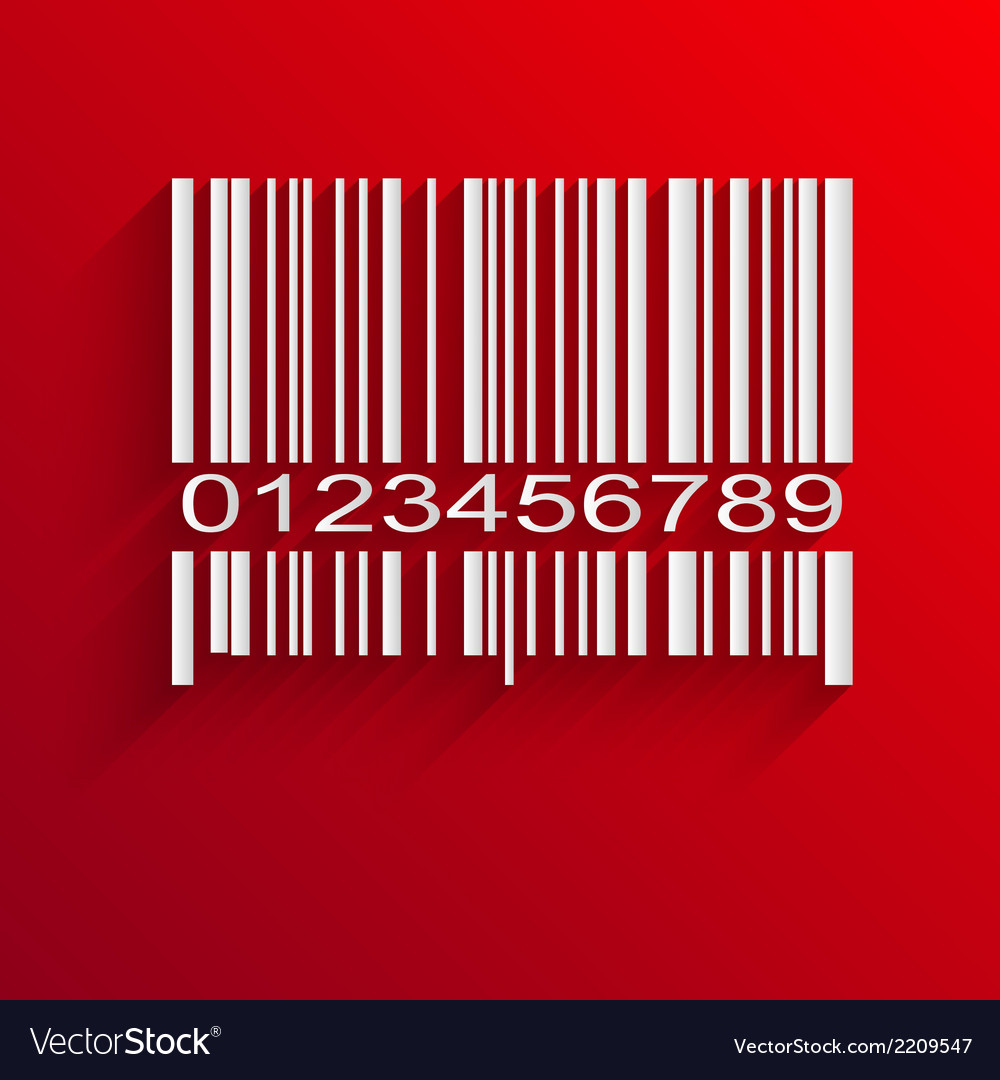 Barcode image on red background vector | Price: 1 Credit (USD $1)