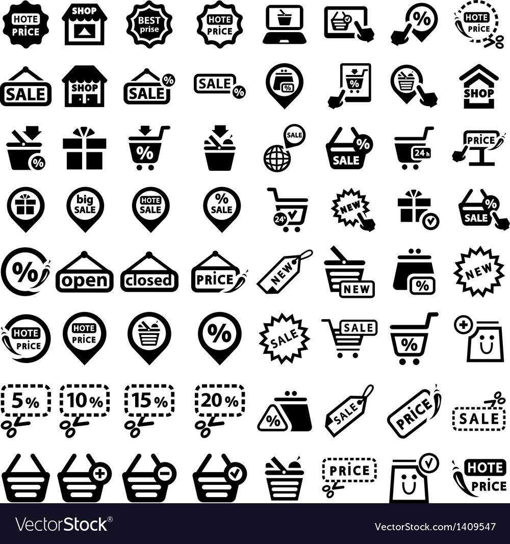 Big shopping icons set vector | Price: 1 Credit (USD $1)