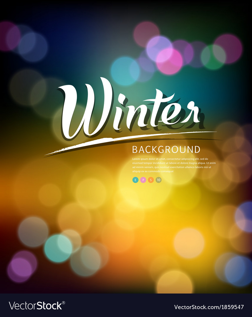 Colorful bokeh abstract winter background vector | Price: 1 Credit (USD $1)