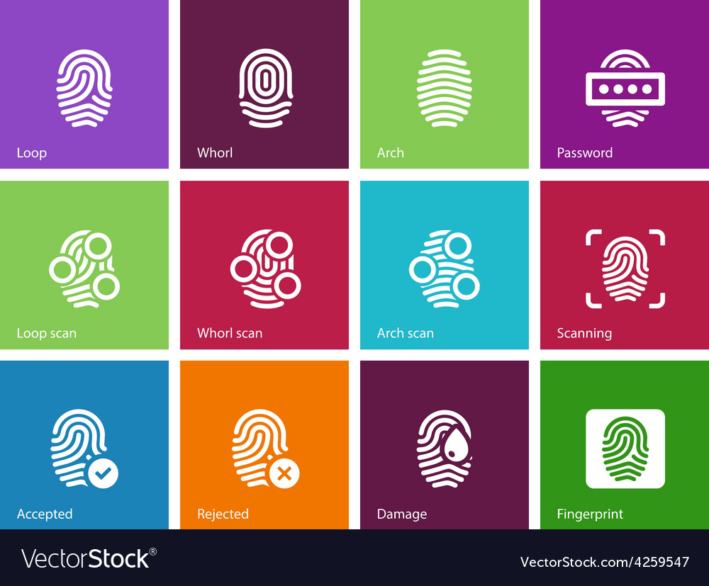 Finger access icons on color background vector | Price: 1 Credit (USD $1)