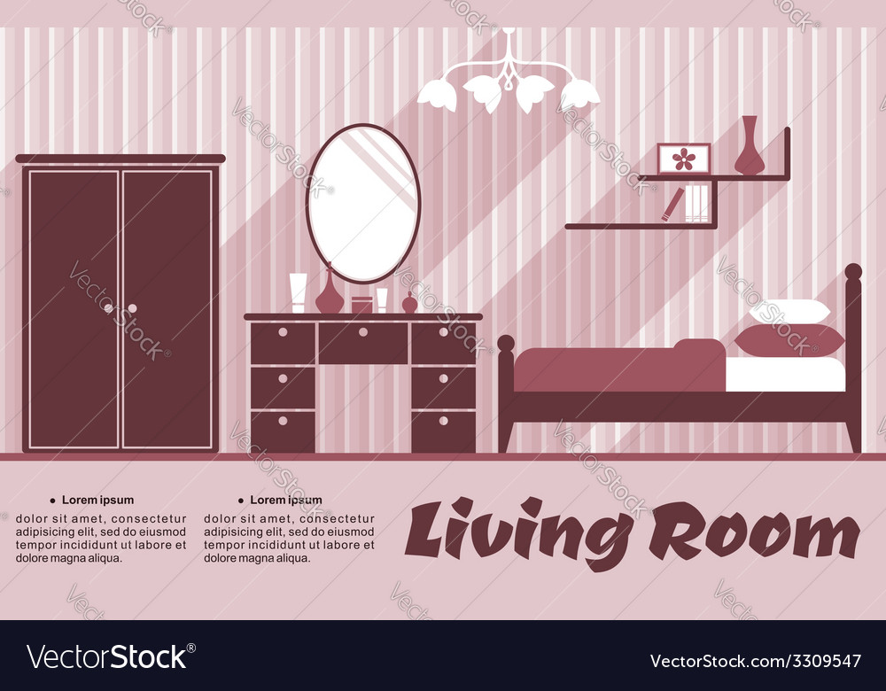 Living room flat interior vector | Price: 1 Credit (USD $1)