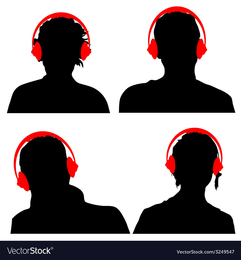 People with headphones black silhouette vector | Price: 1 Credit (USD $1)