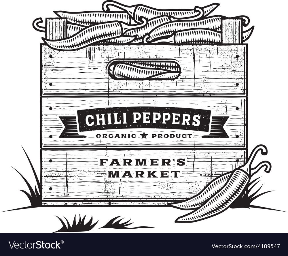Retro crate of chili peppers black and white vector | Price: 1 Credit (USD $1)