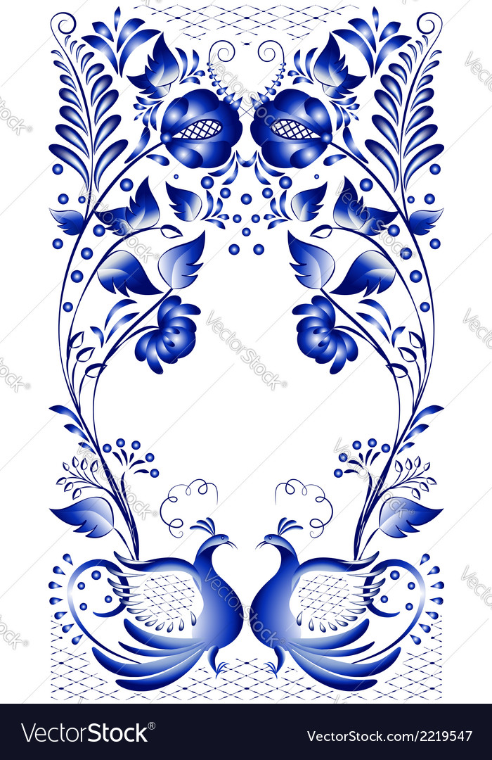 Russian national ornament with the birds at the vector | Price: 1 Credit (USD $1)