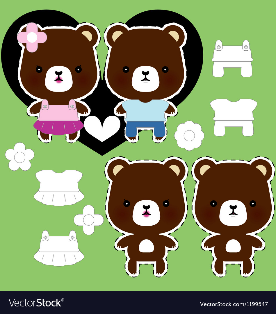 Teddy bear couple vector | Price: 1 Credit (USD $1)