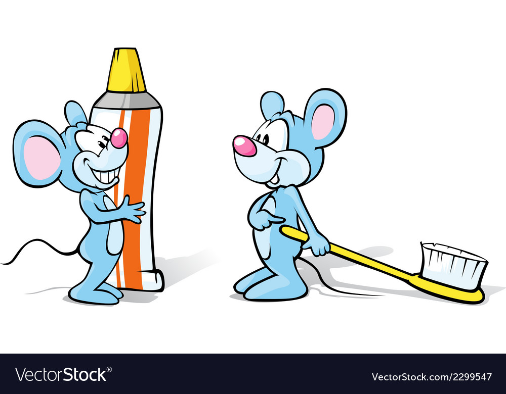 Two mice with toothpaste and toothbrush vector | Price: 1 Credit (USD $1)