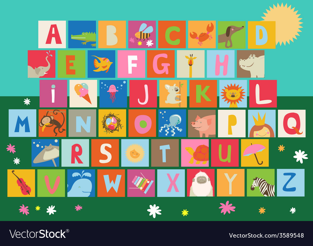 Baby alphabet with animals and hobby tools vector | Price: 1 Credit (USD $1)