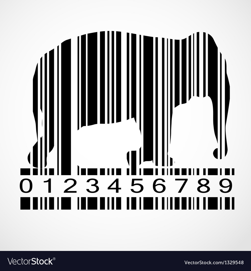 Barcode elephant image vector | Price: 1 Credit (USD $1)