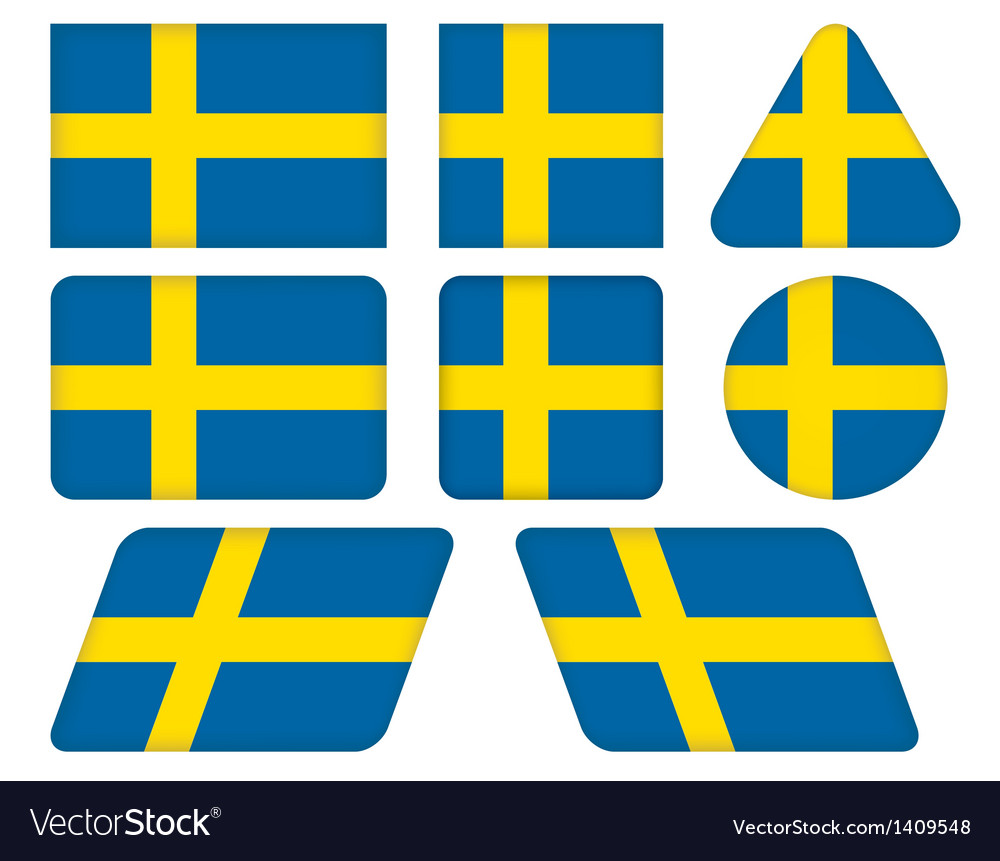 Buttons with flag of sweden vector | Price: 1 Credit (USD $1)