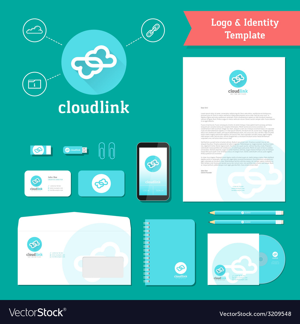 Cloud link logo and identity template vector | Price: 1 Credit (USD $1)
