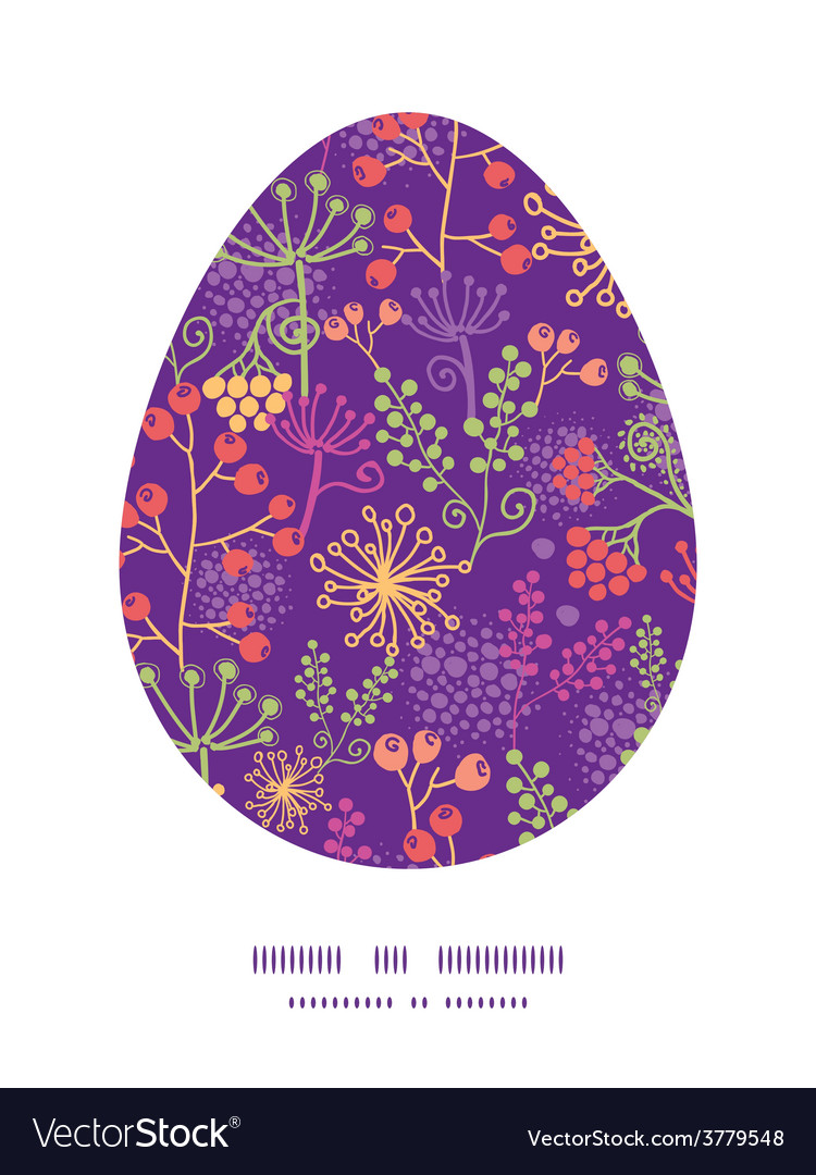 Colorful garden plants easter egg vector | Price: 1 Credit (USD $1)