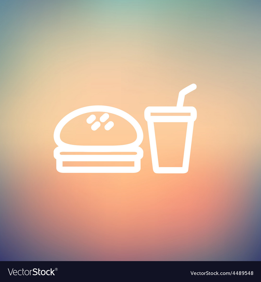 Fast food meal thin line icon vector | Price: 1 Credit (USD $1)