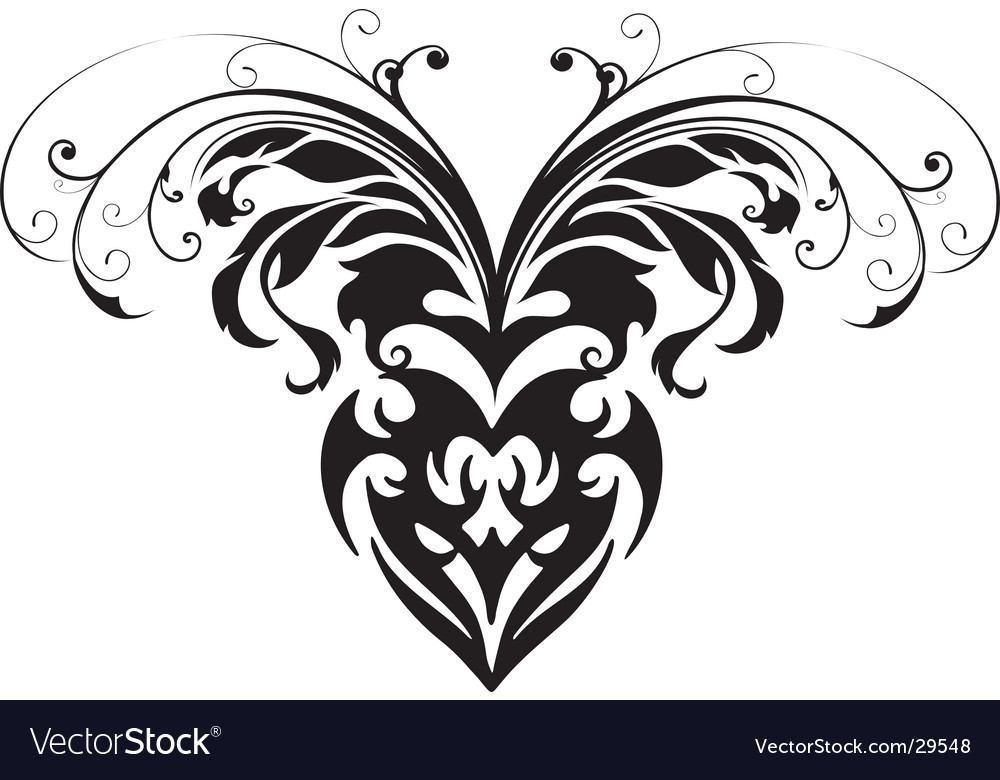 Floral tribal heart face mask vector | Price: 1 Credit (USD $1)