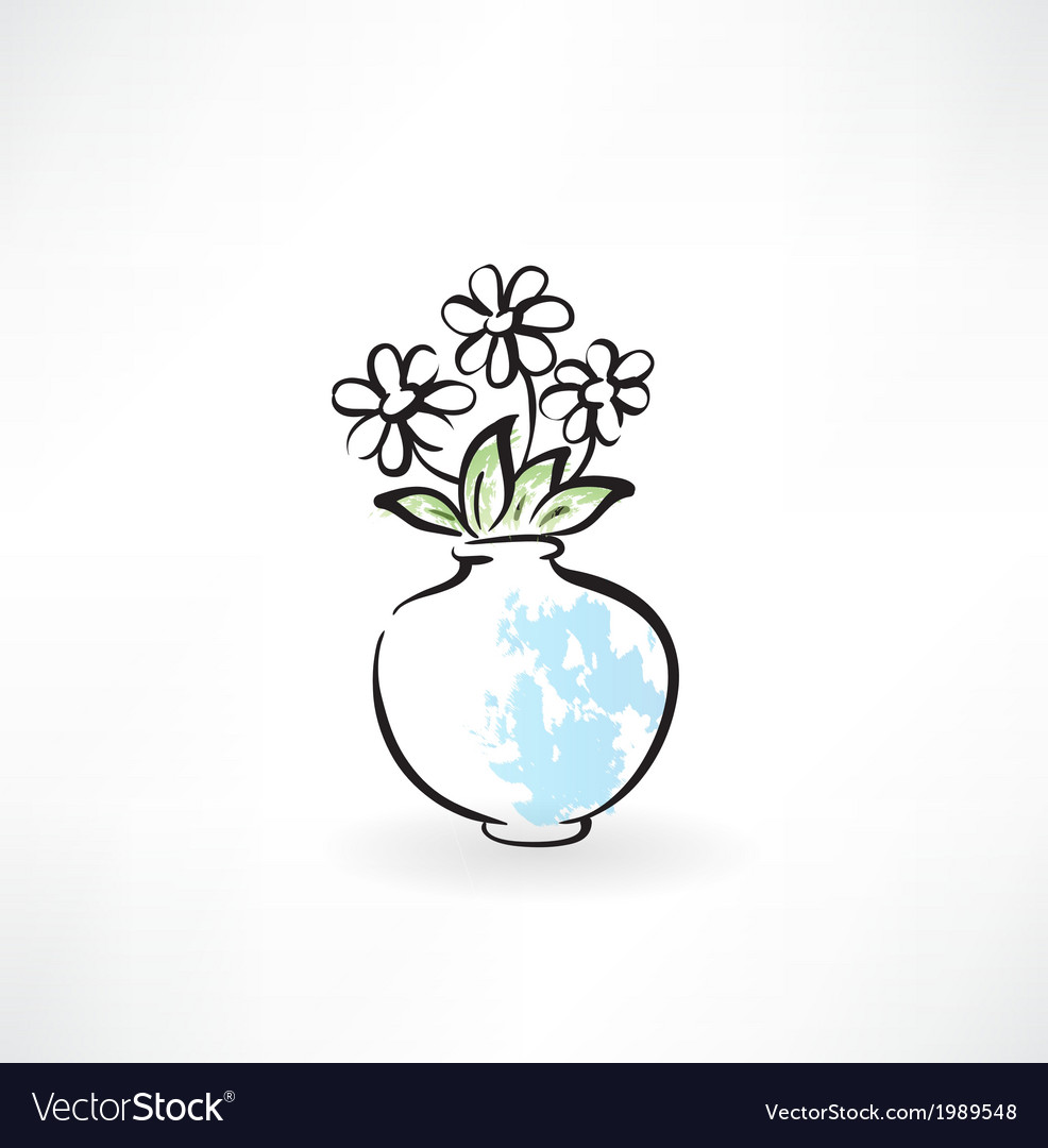 Flowers in a vase grunge icon vector | Price: 1 Credit (USD $1)