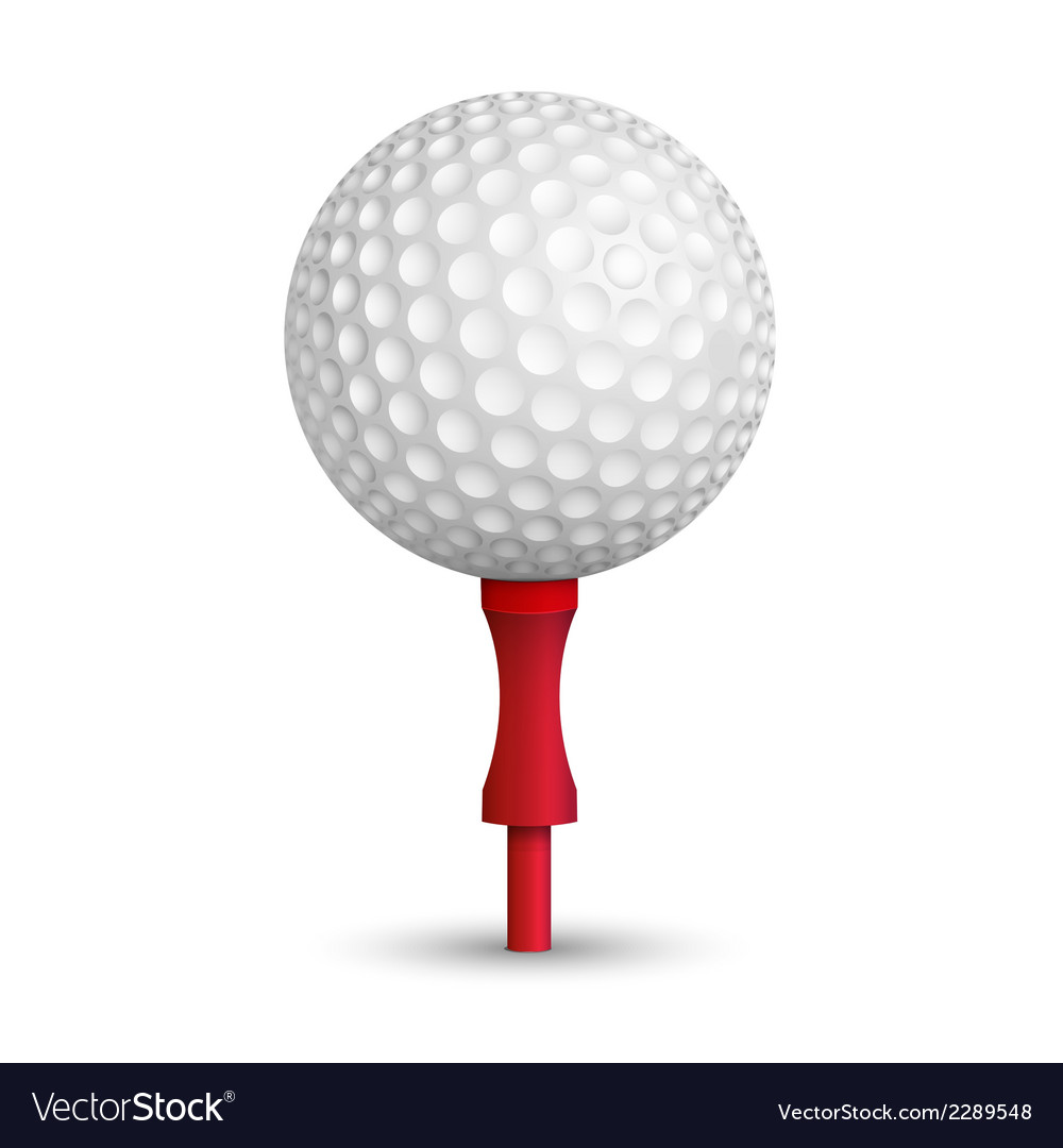 Golf ball on red stand vector | Price: 1 Credit (USD $1)